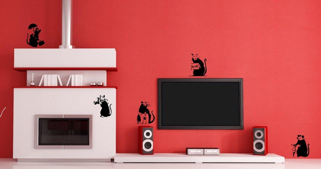 A-Wall Stickers Gran vinilo de papel con dibujos de 5 ratas: Amazon.es: Hogar