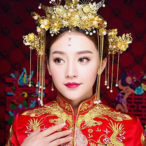 Generic Bridal headdress wedding dress Chinese wedding married toast cloth swan peacock crown tiara three-piece red hair accessories