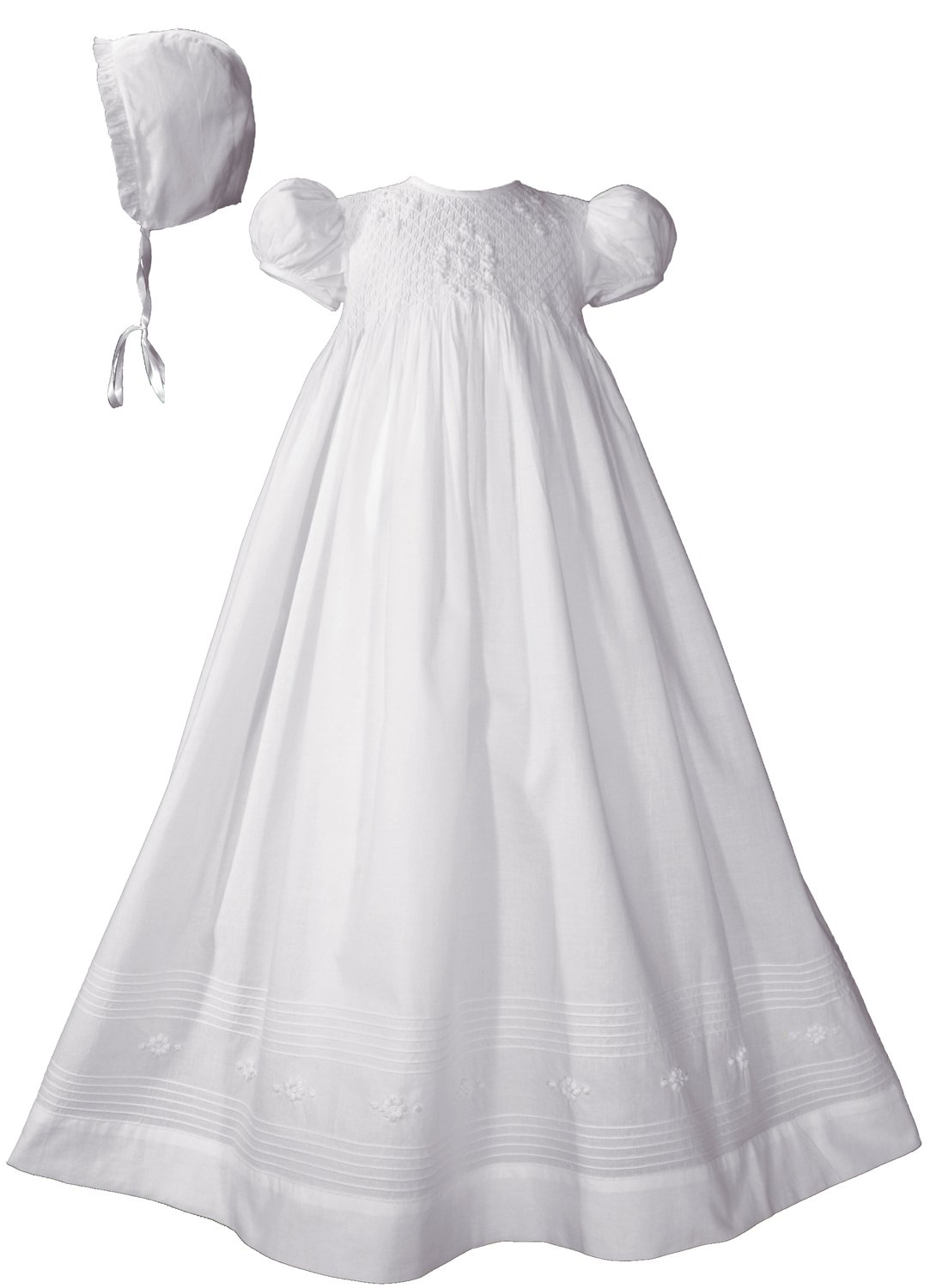 32'' Hand Smocked White Cotton Christening Baptism Gown with Bonnet, LG