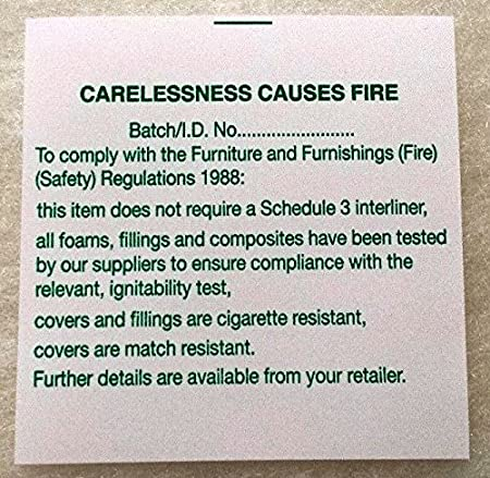 upholstery furniture sew on fire labels 10 amazon co uk