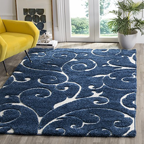 Safavieh Florida Shag Collection SG455-6511 Scrolling Vine Dark Blue and Cream Graceful Swirl Area Rug (4' x 6')