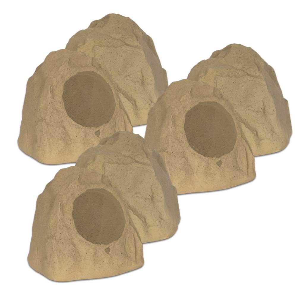 Theater Solutions 6R8S Outdoor Sandstone 8'' Rock 6 Speaker Set for Deck Pool Spa Yard Garden