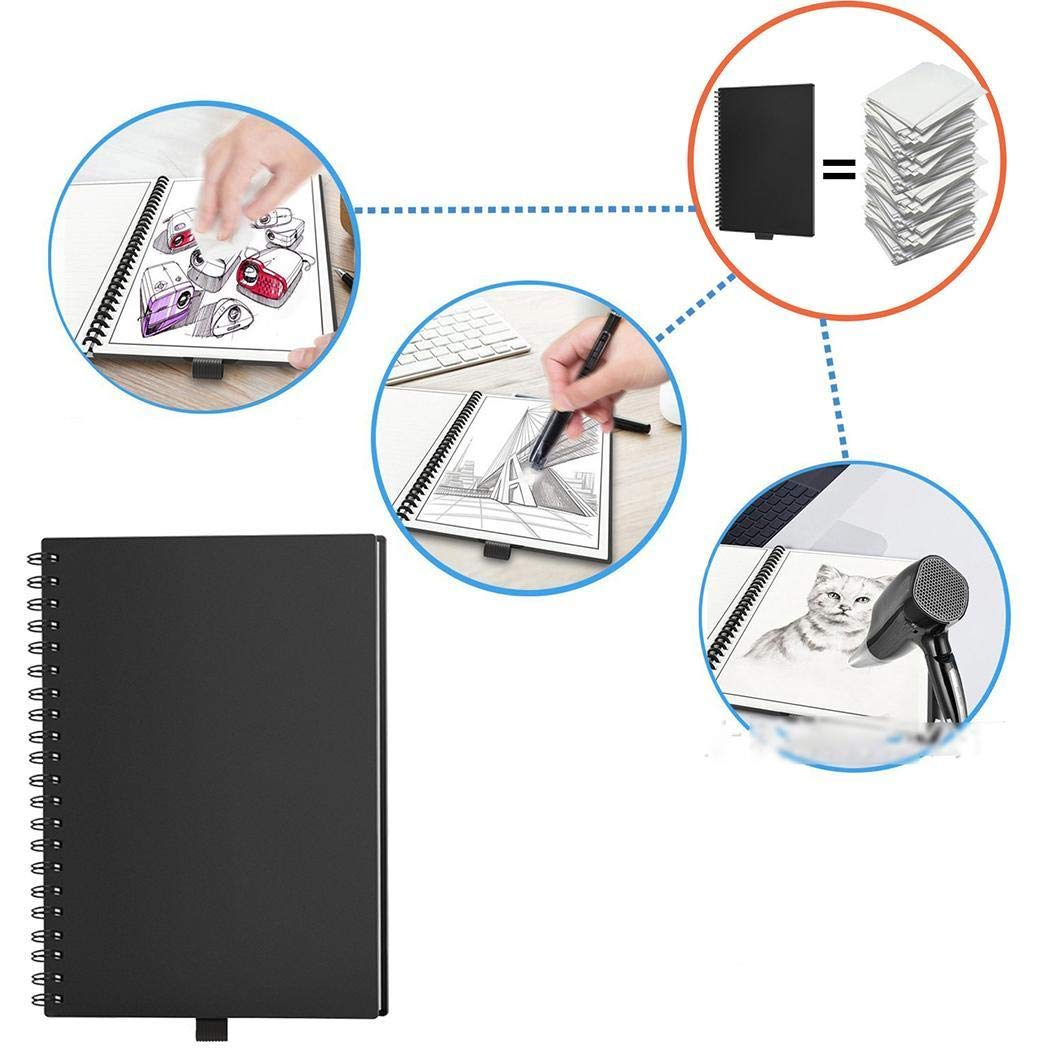 Idomeo Reusable Smart Notebook Erasable with Pen School Office Supplies App Connection Steno Notebooks