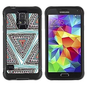 Suave TPU Caso Carcasa de Caucho Funda para Samsung Galaxy S5 SM-G900 / Hand Drawn Pattern Blue Pen Triangle / STRONG