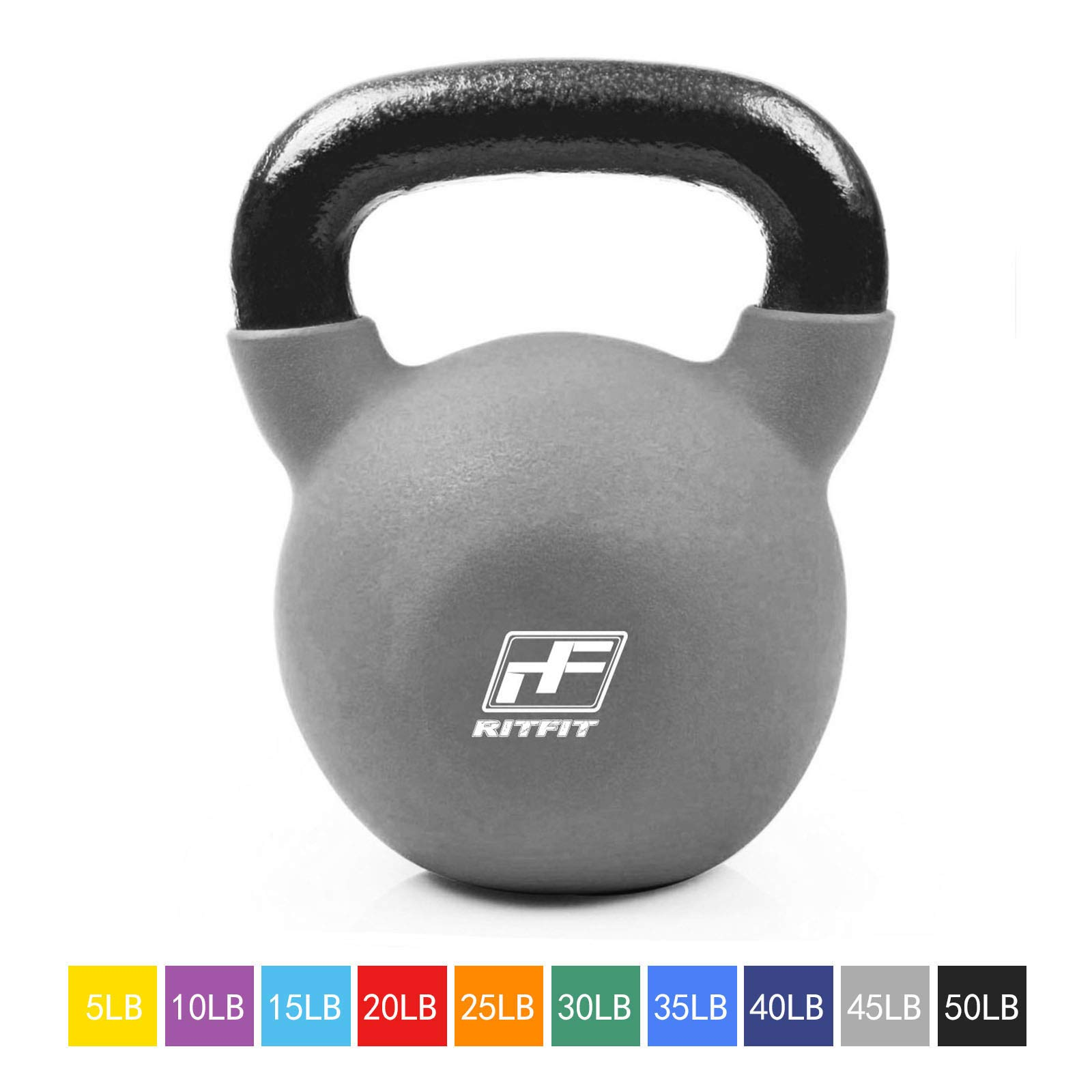 RitFit Neoprene Coated Solid Cast Iron Kettlebell - Great for Full Body Workout, Cross-Training, Weight Loss & Strength Training (5/10/15/20/25/30/35/40/45/50 LB) (45LB(Gray)