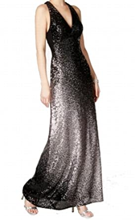 Xscape Womens Sequined Racer-Back Evening Dress Black 4