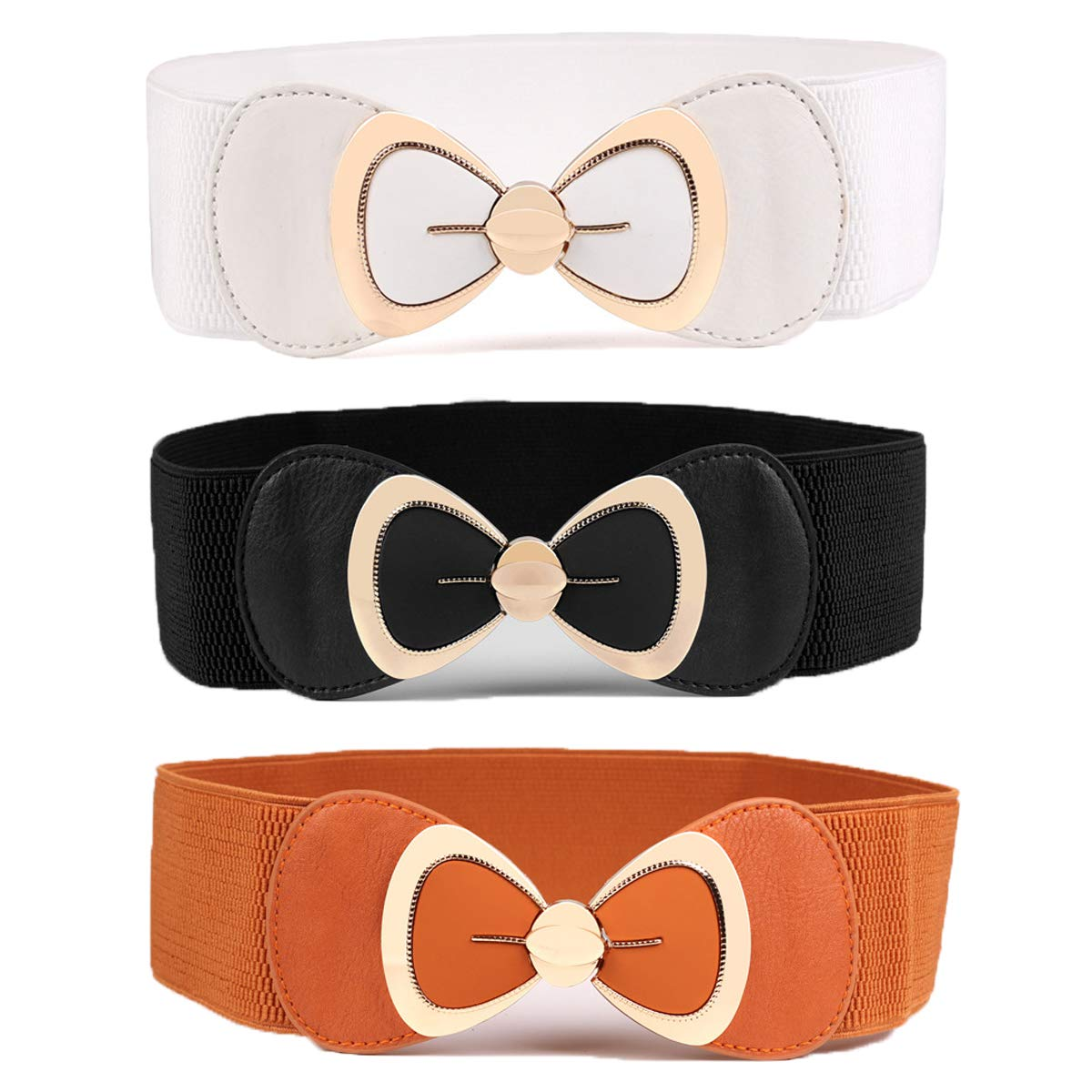 Womtop 3 Packs Women Waist Belts Ladies Metal Bow Clasp Buckle Stretchy Belt Faux Leather Elastic Waistband Dress Belt For Women (A(Black+White+Camel), Free)