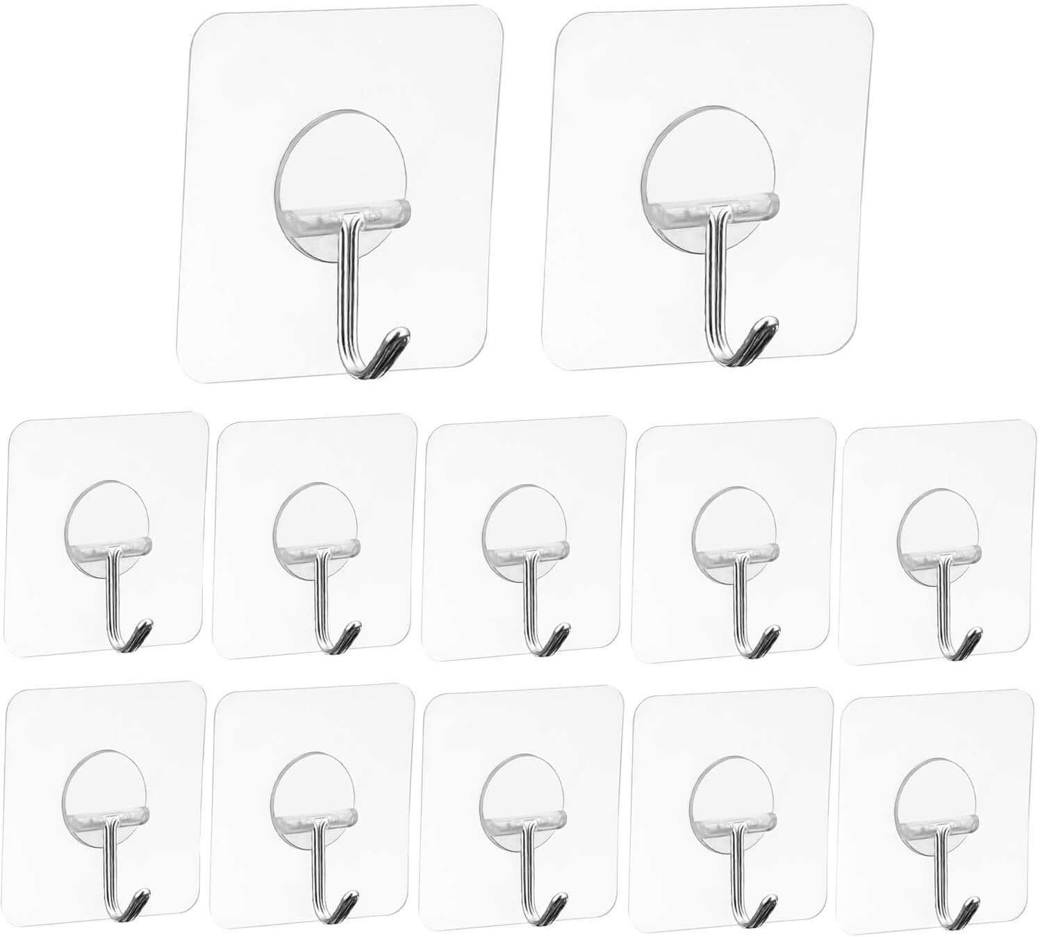 Adhesive Hooks Heavy Duty Wall Hooks 44 lb/ 20 kg(Max), Waterproof and Oilproof Seamless Hooks for Hanging Pictures, Bathroom, Bedroom, Kitchen, Refrigerator Door, Wall and Robe Coat Towel (12 Pack)