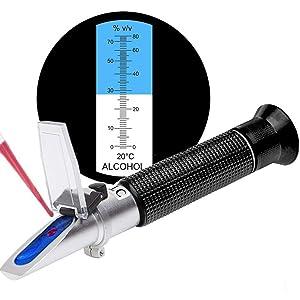 SMARTSMITH Alcohol Refractometer for Spirit Alcohol Volume Percent Measurement with Automatic Temperature Compensation (ATC), Range 0-80% v/v.Alcohol Refractometer for Spirit Alcohol Volume Percent
