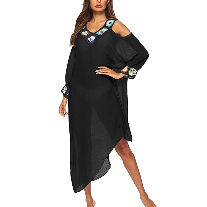 0ef3824549 Dingjun Women's Bathing Suit Cover ups Crochet Trim Kaftans Strapless  Irregular Swimwear Cover up Beach Long