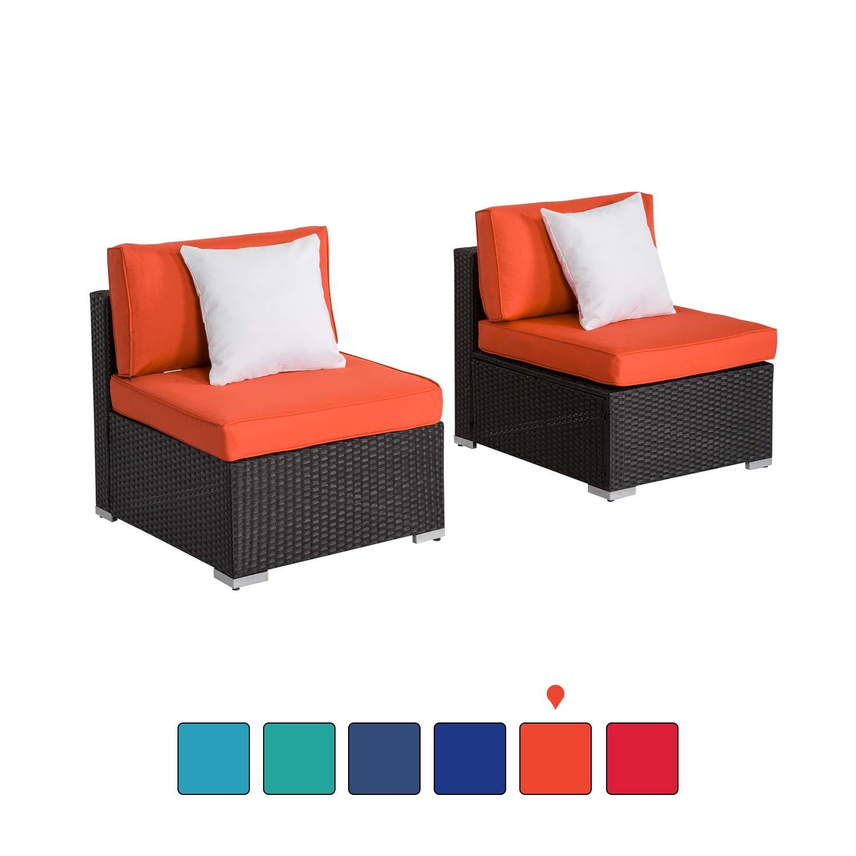 Kinsunny Peach Tree Outdoor Loveseat 2 PCs Patio Furniture Set, Wicker Armless Sofa Chairs Black Rattan Thick Cushions Infinitely Combination by Kinsunny