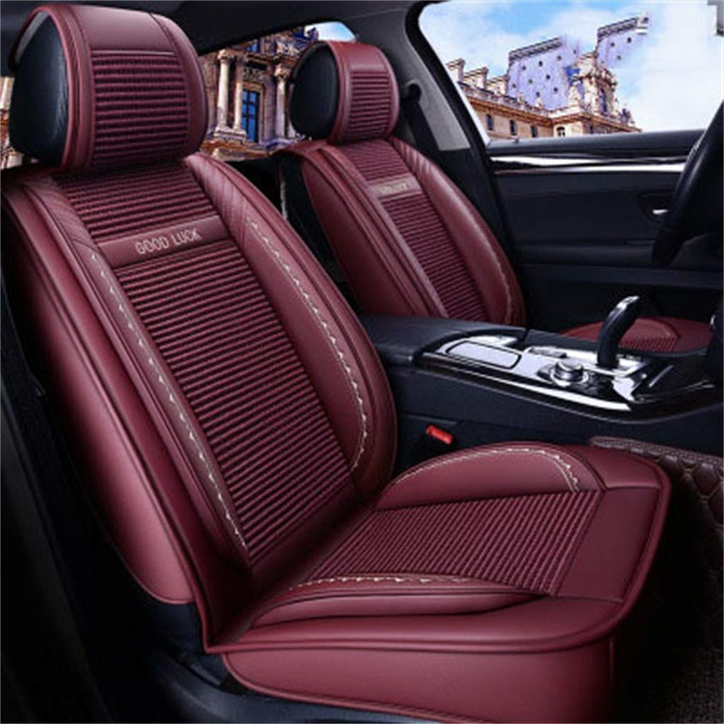 Red Car Seat Cover, 5 Seat Full Set Universal Ice Silk Four Seasons Pad Compatible Airbag Seat Predectors