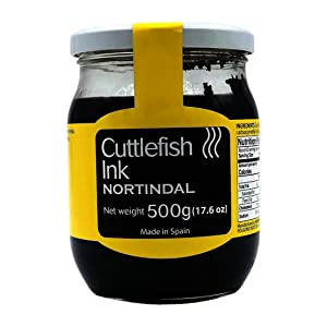 Nortindal Squid Ink/Cuttlefish Ink for Cooking, Black Food Coloring Imported from Spain 500 grams/ 17.6 oz in an Intfeast Box (Pack of 1)