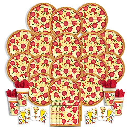 B-THERE Pizza Party Supplies Any Occasion Party Pack - Seats 16: Napkins, Plates, Cups and Stickers - Childrens Pizza Party Supplies