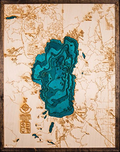 Large. Beautifully Detailed! BLUE Lake Tahoe 3-D Wood Map. 24in x 31in by TahoeWoodMaps.com