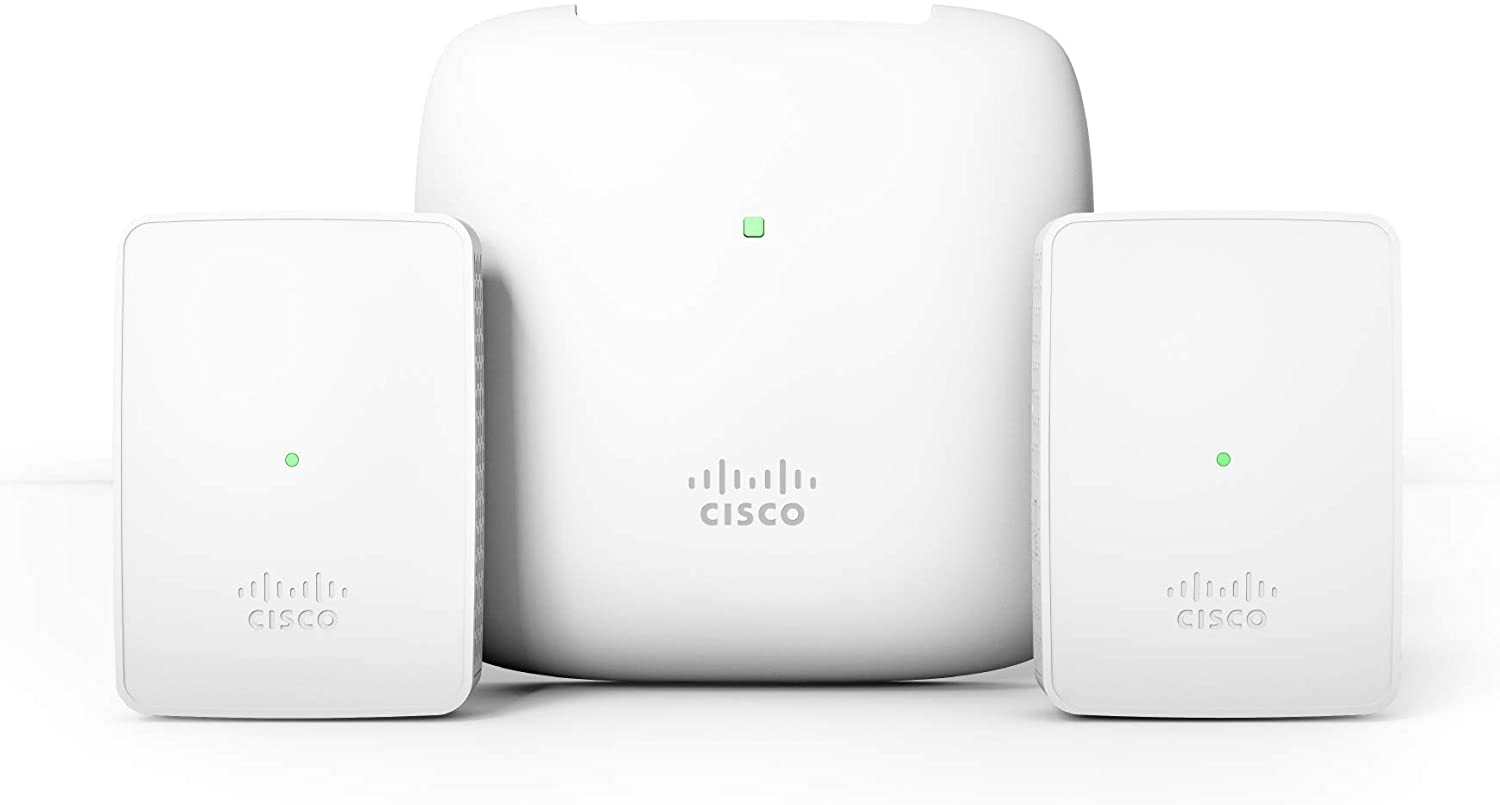 Cisco Business 140AC Starter Kit | Mesh Wi-Fi System | 1 Access Point + 2 Mesh Extenders + 1 PoE Injector | Coverage up to 3000 Square feet | Limited Lifetime Protection (CBW140MXS-B-NA)