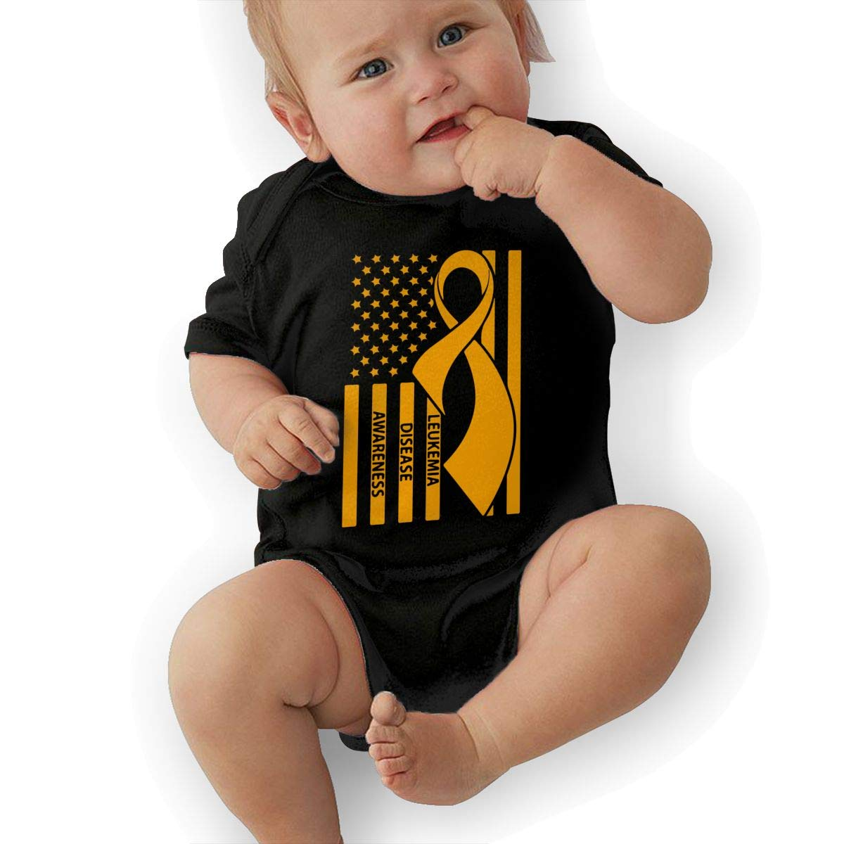 U88oi-8 Short Sleeve Cotton Bodysuit for Baby Girls Boys Cute Leukemia Disease Awareness Crawler