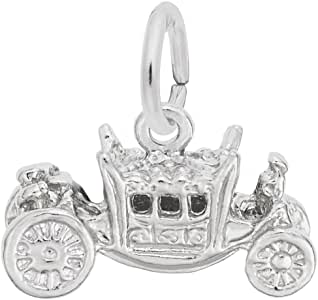 Sterling Silver Mens Unisex 1.5mm Box Chain 3D Large Surrey Carriage Horse Pendant Necklace