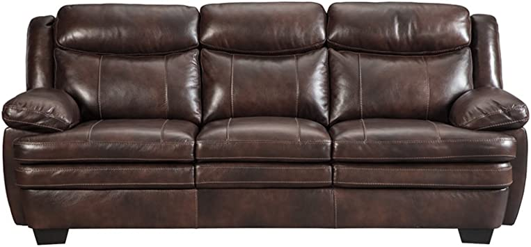 Signature Design by Ashley - Hannalore Contemporary Cafe Faux Leather Sofa,  Rustic
