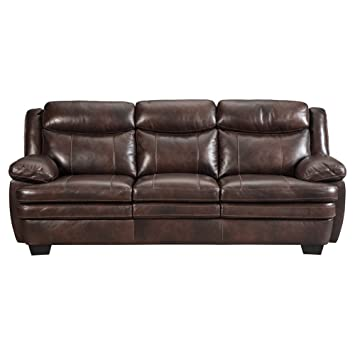Ashley Hannalore Contemporary Cafe Faux Leather Sofa