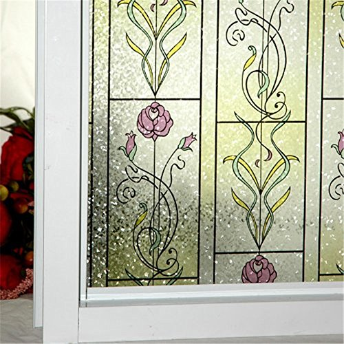 OstepDecor 6 Sizes 24-by-78.7-Inch Red Rose Static Cling Decorative Window Films