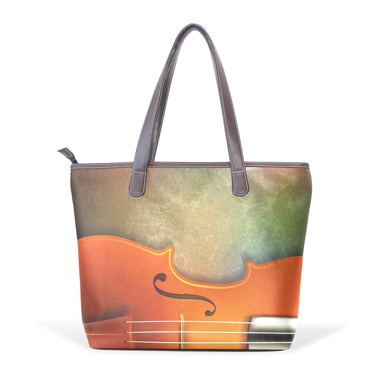 Womens Leather Tote Bag,Vintage Music Instrument,Large Handbag