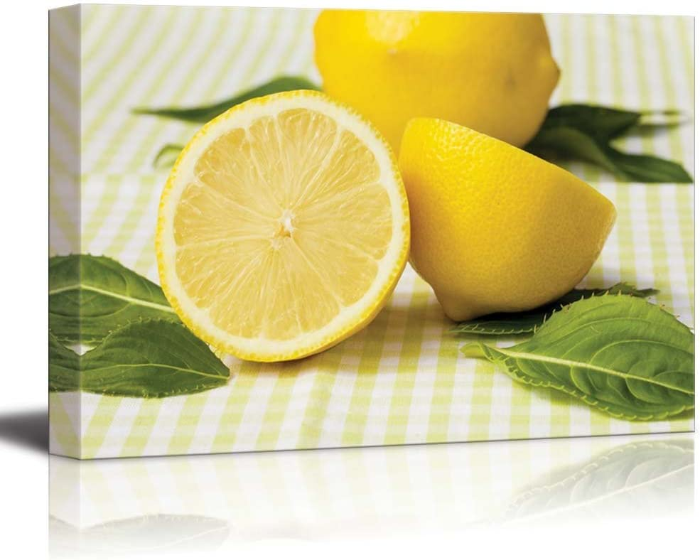 Canvas Prints Wall Art - Still Life Fresh/Natural Yellow Lemon   Modern Wall Decor/Home Art Stretched Gallery Canvas Wraps Giclee Print & Ready to Hang - 24