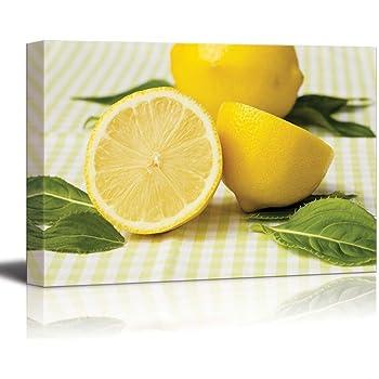 Amazon.com: Canvas Prints Wall Art - Fresh Lemon Fruits Photograph ...