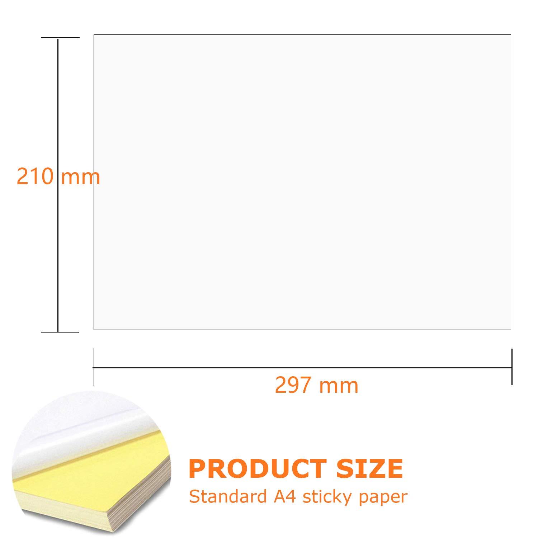 Papier pour imprimante A4 /Étiquettes universelles autocollantes 65 feuilles Autocollant blanc Etiquette en papier Imprimante pour imprimantes laser et jet dencre /Étiquettes dadresse pour imprimante