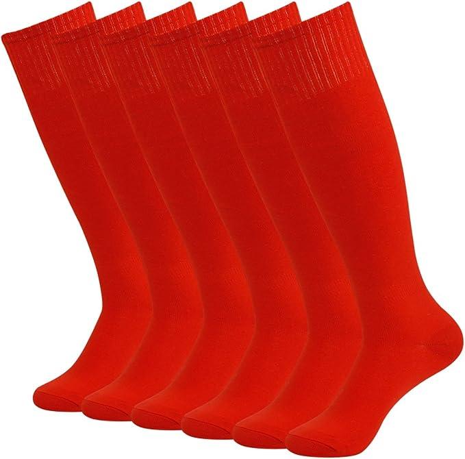 Fasoar Unisex Knee High Sports Football Tube Soccer Socks Pack of 2/6