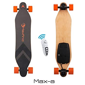 "Maxfind Electric Longboard Skateboard 18.6 mph Hub Brush Motor 38"" Electric Skateboard with Remote (maxa)"