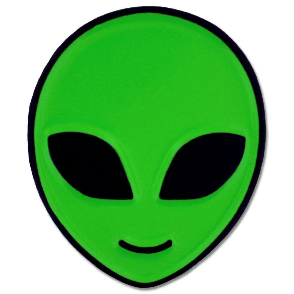 PinMart Green Alien Head Sci-Fi Enamel Lapel Pin