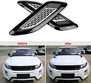 Qiilu Exterior Hood Air Vent Outlet Wing Trim Fit for Land Rover Range Rover Evoque 12-18 Black & Silver