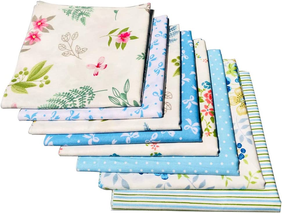Fat Quarter Natural Cotton Quilting Fabric Thick Craft Printed Fabric High Density Bundle Squares Patchwork Lint DIY Sewing 10pcs, Blue 51cmx51cm flic-flac 20 x 20 inches