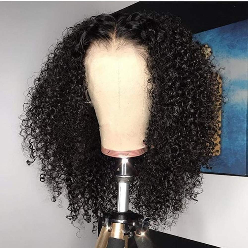 Full Lace Human Hair Wig Glueless Lace Frontal Hair Kinky Curly Style Pre Plucked Hair Line with Baby Hair for Black Women by YOKADAHAIR (12inch, full lace wig) 61w26u07m0L