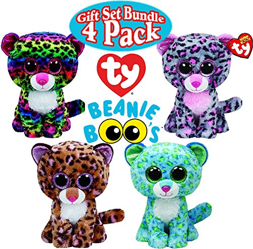 TY Beanie Boos Leopard Gift Set Bundle Featuring Leona, Patches, Dotty & Tasha - 4 Pack