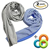 Soft Cooling Towel for Instant Relief, 48inch Extra Long Natural Cool Cloth Scarf, Cold Neck Wrap Chilly Towels for Sports, Workout, Fitness, Gym, Yoga, Pilates, Travel, Camping Outdoor Running & More