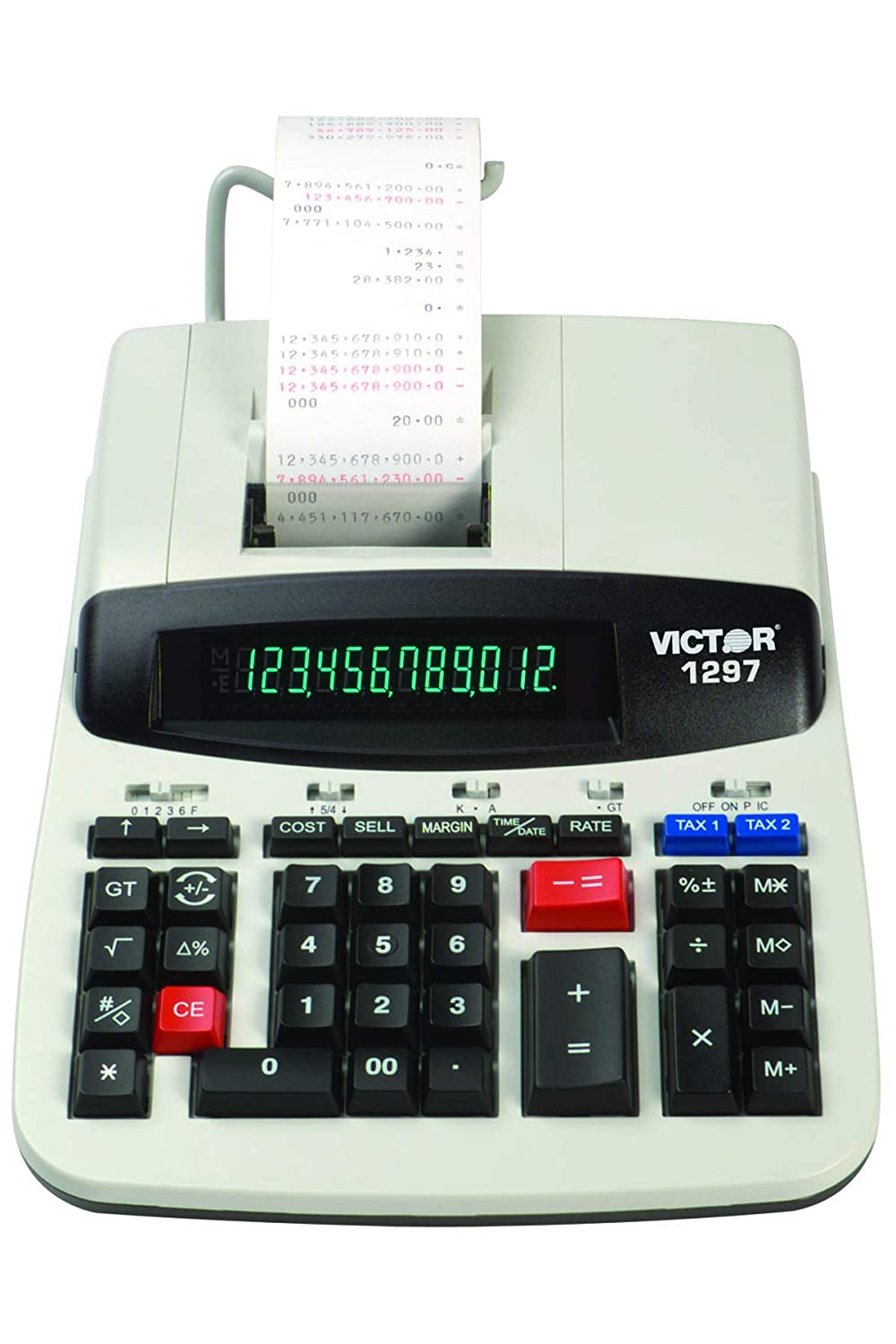 Victor 1297 12-Digit Commercial Printing Calculator, Adding Machine  Calculator with Tape, Great for Business, Home, and Office Use