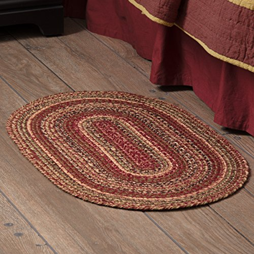 VHC Brands 45593 Burgundy Red Primitive Country Flooring Cider Mill Jute Rug, 20x30 ()