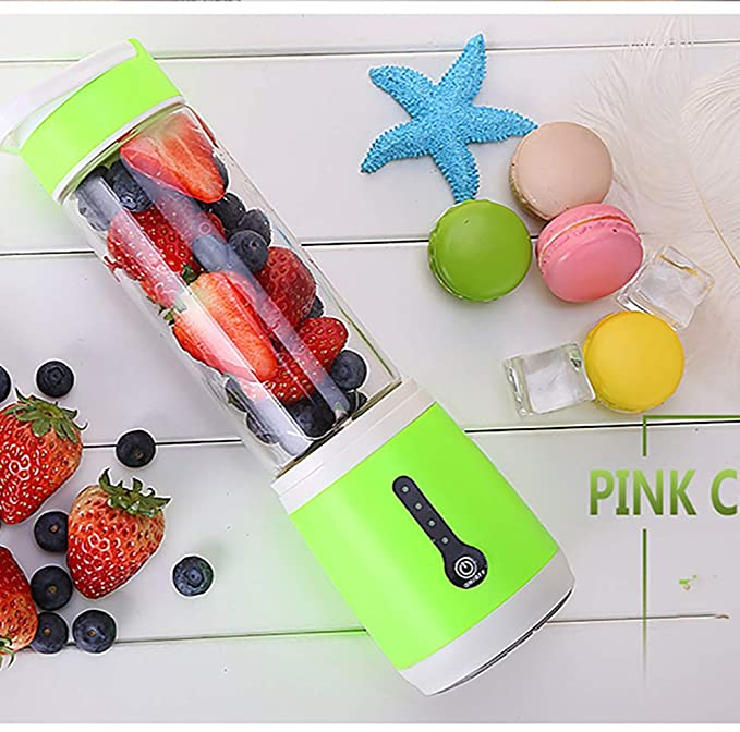 LHLH Single Auger Masticating Juicer Small Appliances Portable Glass Powerful Outdoor Strawberry Apple Orange Watermelon,Green