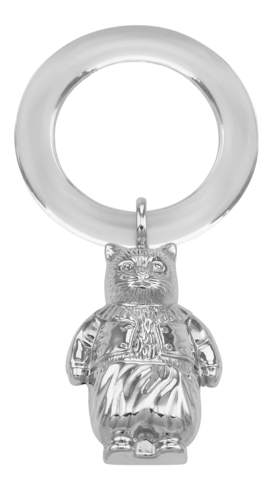 Sterling Silver Fairy Tale Cat Rattle - Teething Ring for Baby
