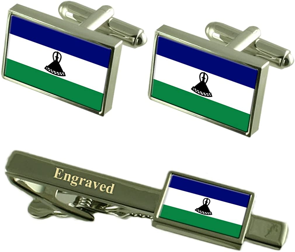 Select Gifts Lesotho Flag Cufflinks Engraved Tie Clip Matching Box Set