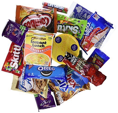 Lunch & Snacks Variety Bundle Care Package Gift Box for Military, College Student, Office (34 Count)