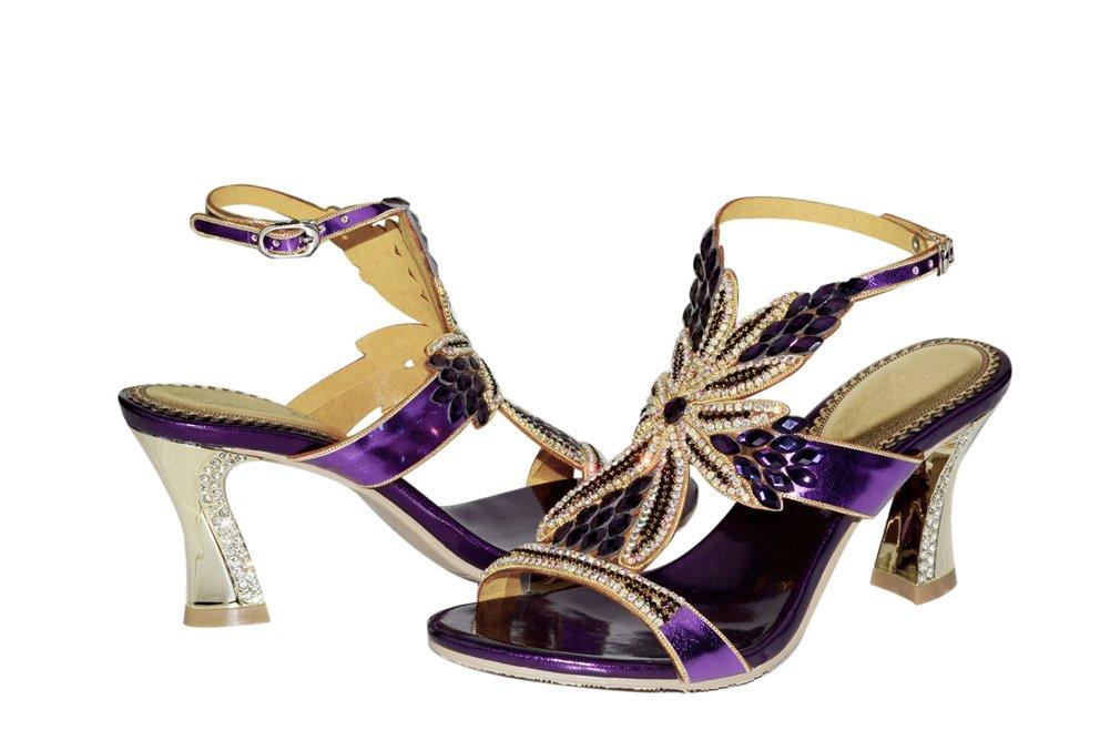 HN scarpe Donna Le Signore Signore Signore Nozze Strass Fatto A Mano Sandali Cinghietti Tacco Festa Ballo Di Fine Anno Scarpe Taglia 35-43,viola,EUR39 UK7 8e1ea4