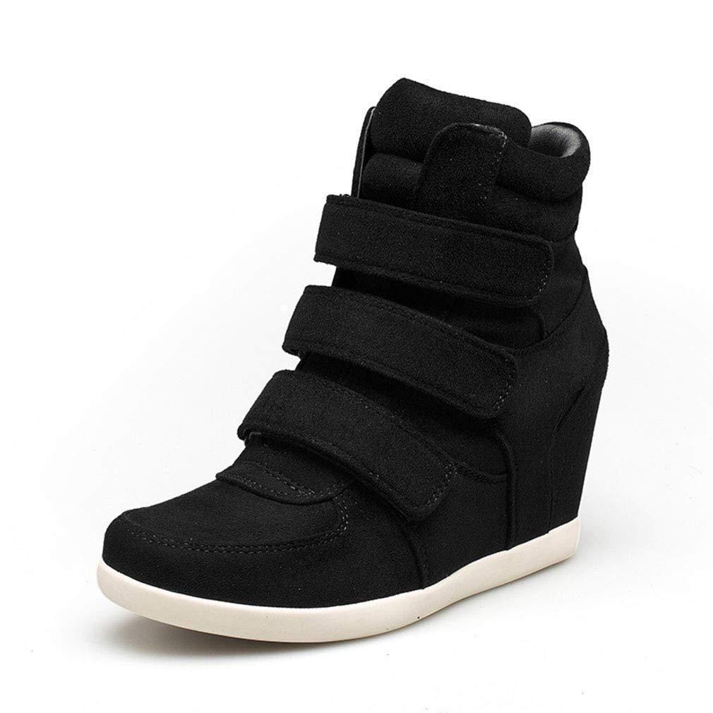 YAN Damenschuhe Mode Mikrofaser Frühjahr Damen Schuhe Klettverschluss unsichtbar Erhöhung Freizeitschuhe High-top Freizeitschuhe