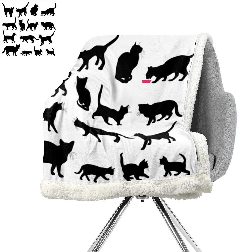 Pattern color04 W59\ Pattern color04 W59\ ScottDecor Cat Blanket Small Quilt,Black Cat Silhouettes in Different Poses Domestic Pets Kitty Paws Tail and Whiskers,Black White,Digital Printing Blanket W59xL31.5 Inch