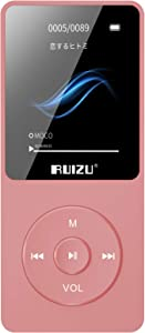 MP3 Player, RUIZU X02 16GB Ultra Slim Music Player,Long Battery Life Mp3 with FM Radio,Voice Recorder,Video Play,Text Reading,80 Hours Playback and Expandable Up to 128 GB (Rose-Gold)