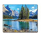 gel kitchen mats canada Mouse Pad Unique Custom Printed Mousepad Lakehouse Decor Collection Scenery Of Spirit Island On Maligne Lake Canada In A Summer Time Covered With Mountains Image Blue Green Stitched Edge Non Slip Rubb