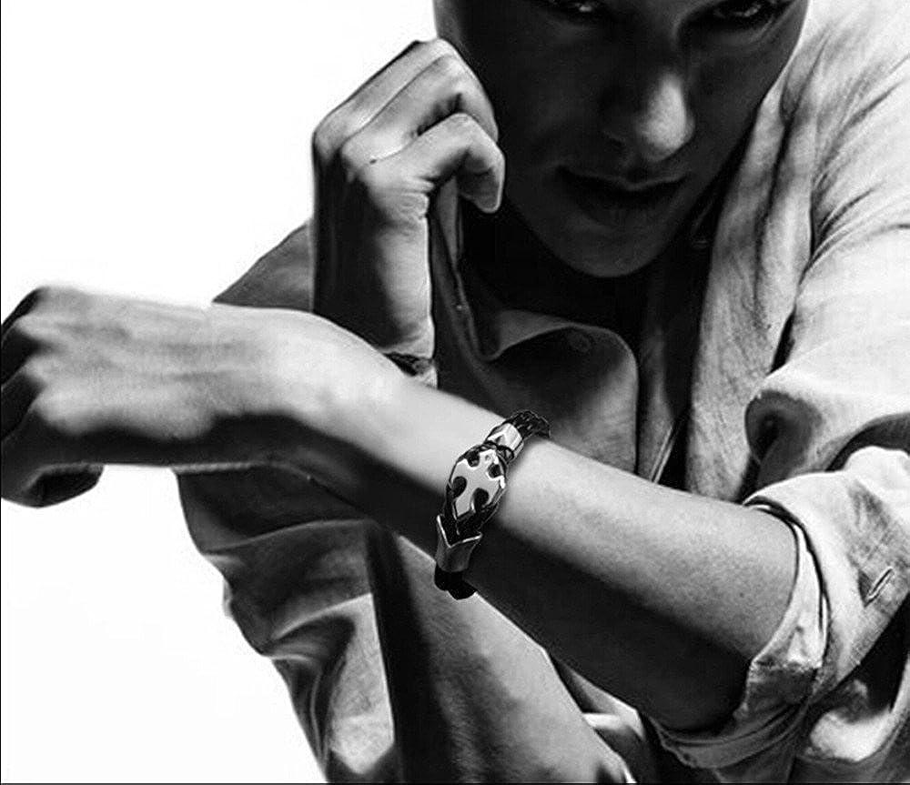 BLACK, Length:7.9 OCTCHOCO Handmade Braided Leather Cuff Bracelet with Titanium Cross Wrist Cuff Bracelet for Men Women