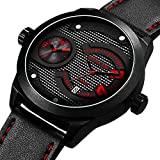 Mens Analog Quartz Watch Dual Time Sport and Business Waterproof with Black Genuine Leather Simple Military Auto Date Wrist Watches for Teen Boys